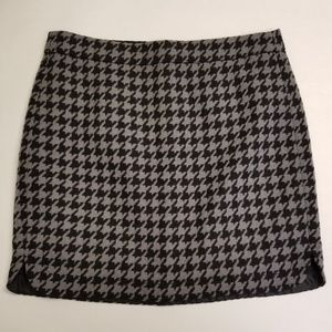 J. Crew Black and Gray Houndstooth Skirt